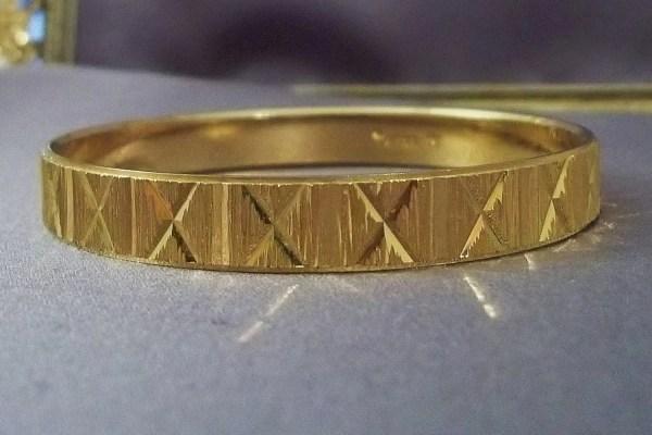 Crown Trifari Gold Bangle Bracelet Vintage