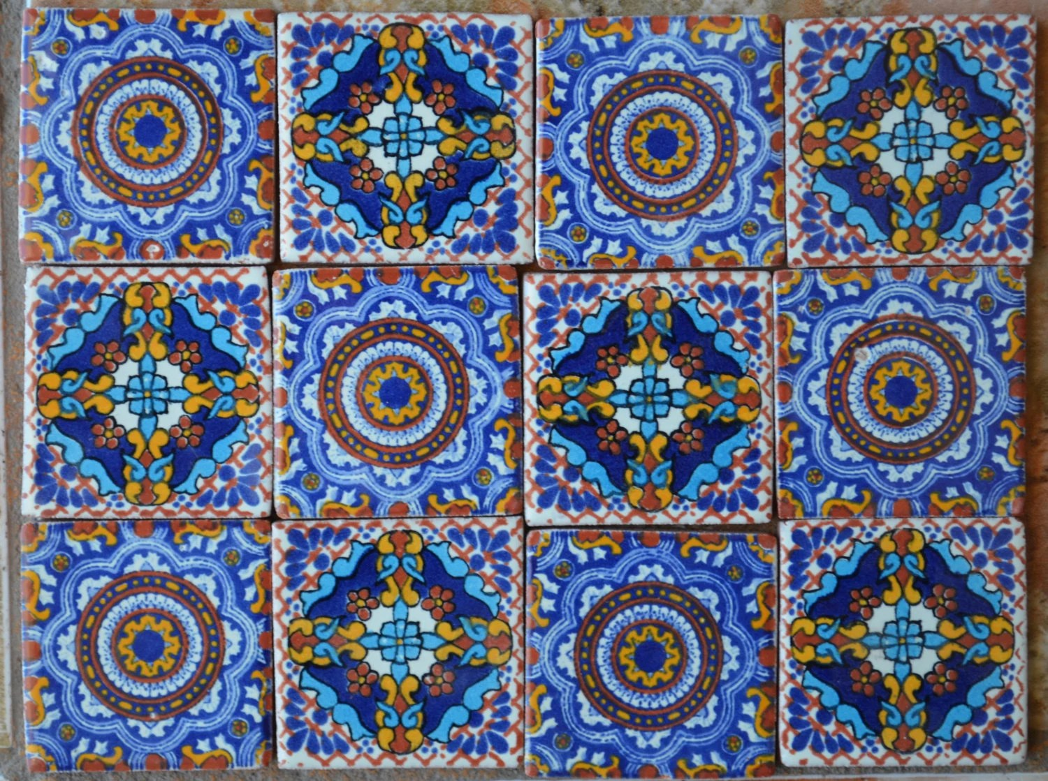 12 Mexican Talavera Tiles handmade Hand painted 2 X