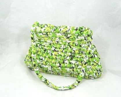 green and white handmade cotton bag, crochet bag, yarns bag, italian bag, woman's gift, shoulder bag, handmade purse,v made in italy bag - Gliaccessoridipeppe