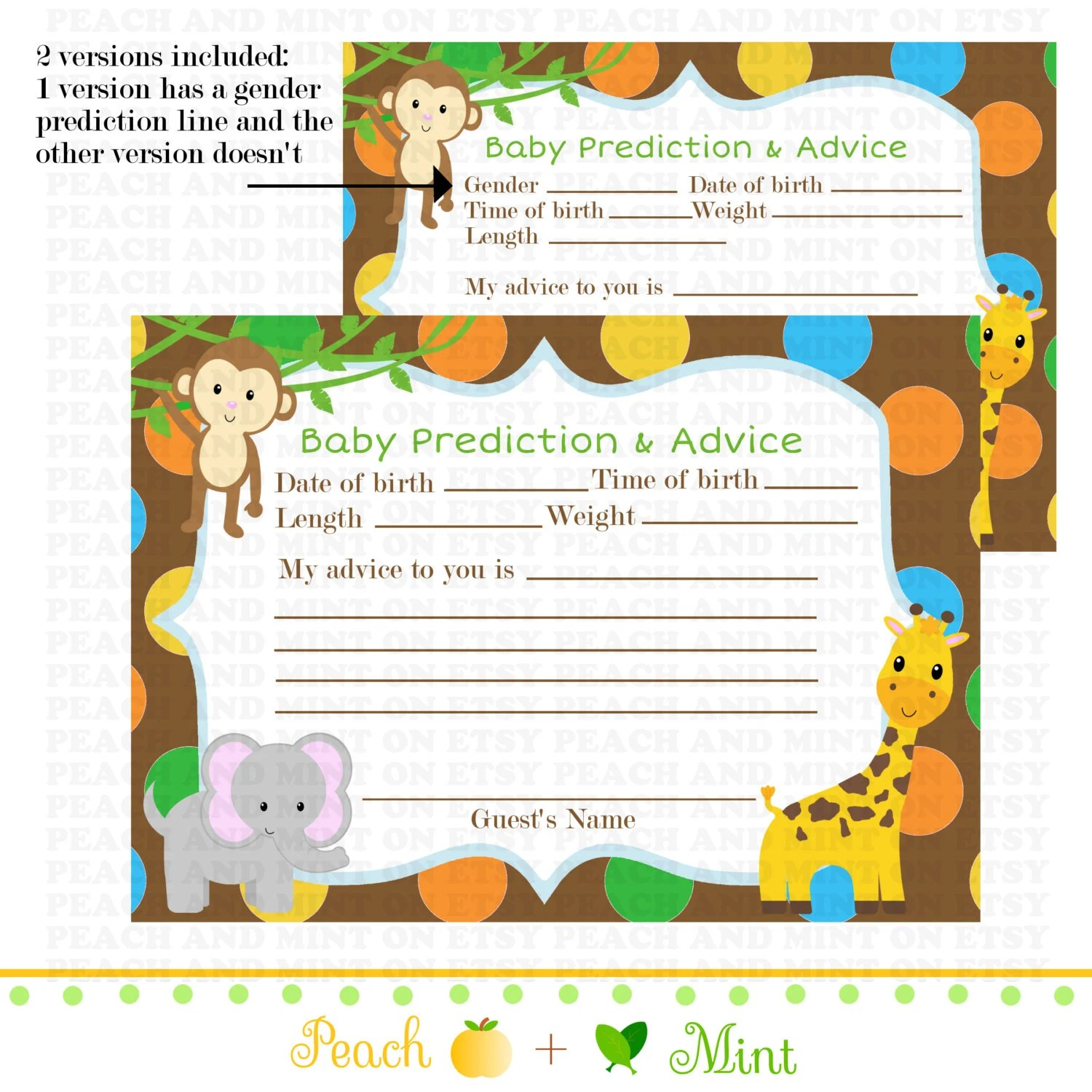 Printable Safari Or Jungle Baby Shower Advice Card Jungle