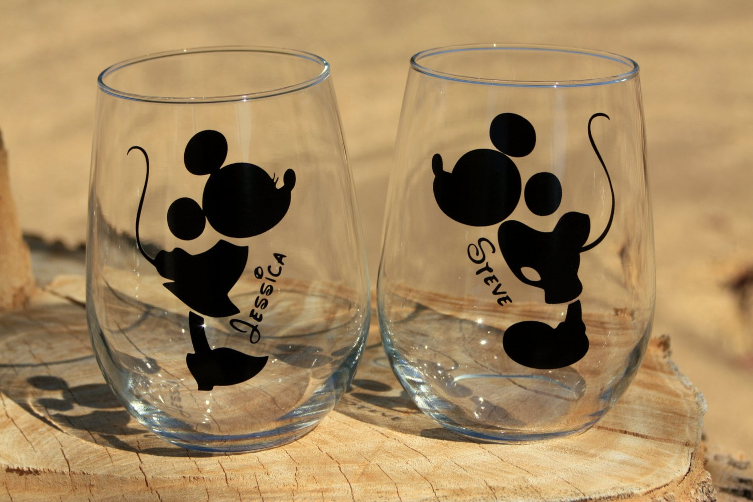 Mickey And Minnie Mouse Stemless Wine Glasses. Engagement Or