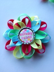 colorful happy birthday hair bow