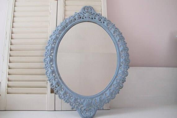 Vintage Oval Round Baroque Style Mirror / Baby By
