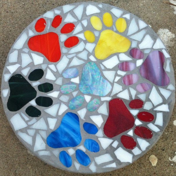 Custom Stained Glass Mosaic Stepping Stone
