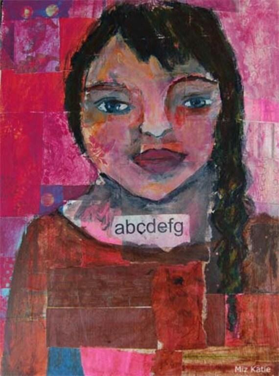Acrylic Portrait Painting Collage 9x12 abcdefg Original, Mixed Media, Girl, Braid,