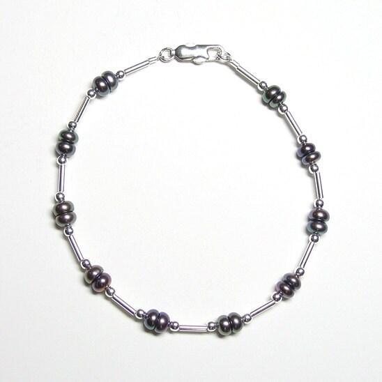 Peacock pearl & sterling silver bracelet