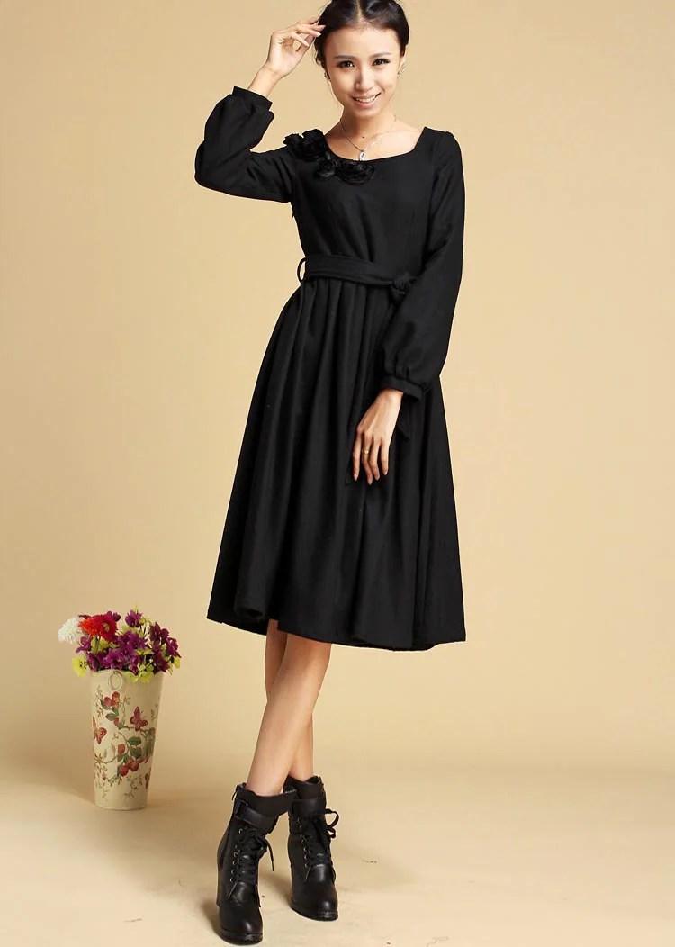 Black dress winter wool dress midi dress pleated dress