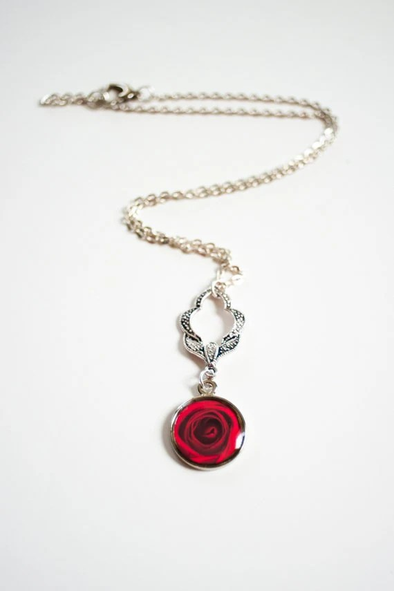 Crimson Rose Necklace - for her, red rose, photo jewelry, silver, bridesmaids, delicate, wedding jewelry, romantic jewelry, efpteam, fpoe - ErinBphoto