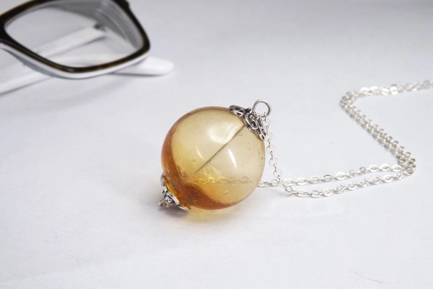 topaz transparent handblown glass pendant necklace - amabito