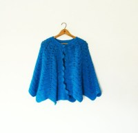 Electric Blue Vintage Shawl / Teal Crocheted Vintage Wrap