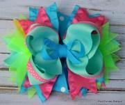 girls hair bows pink aqua green