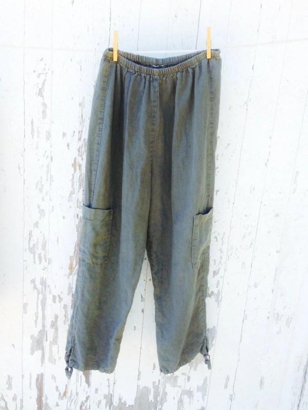 Boho Linen Cargo Pants Olive Green Ankle Tie Elastic