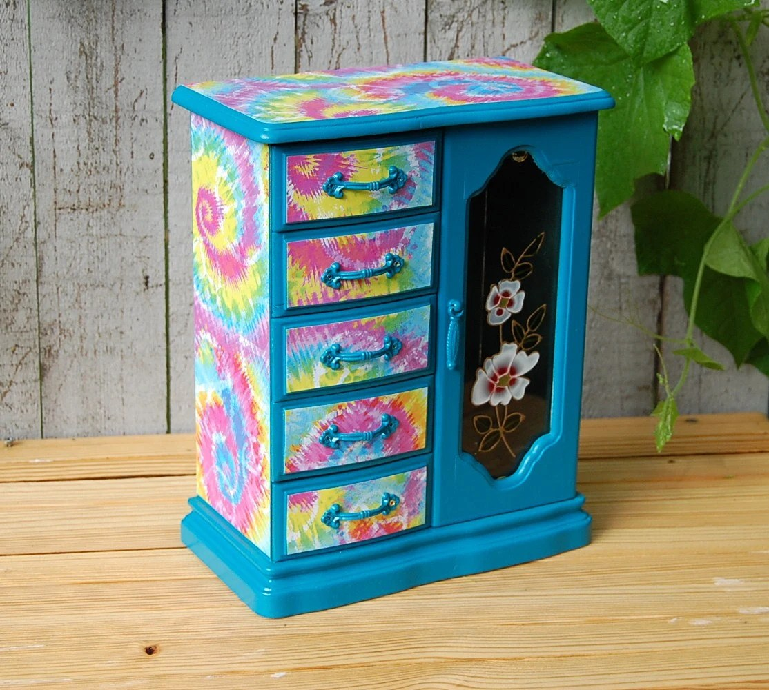 Jewelry Box Armoire Turquoise Tie Dye Peace Signs