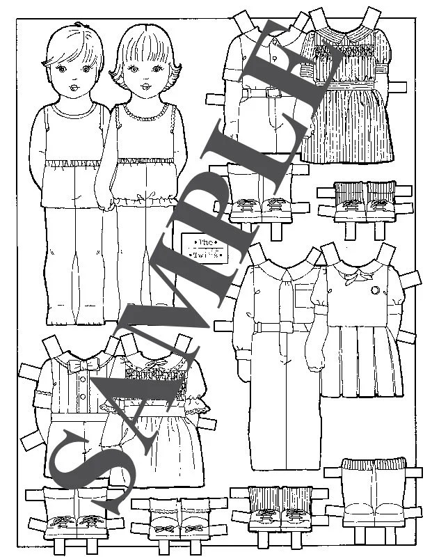 Paper Doll_ Vintage Paper Dolls _ Boy & Girl Twins _ Coloring