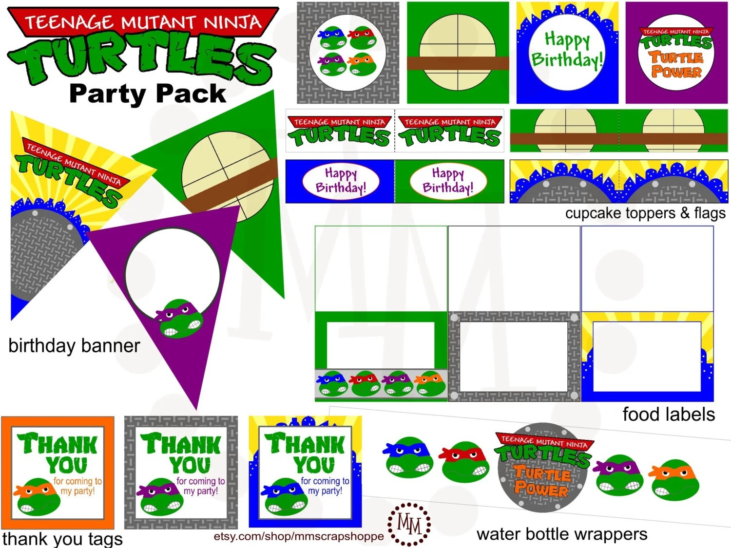 Teenage Mutant Ninja Turtles Printable Party Pack By Mmscrapshoppe
