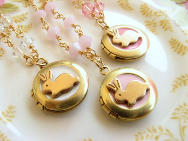Bunny Locket Necklace Little Girl Jewelry