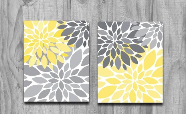 Yellow Gray Flower Petals Burst Canvas Or Print Set Home Decor