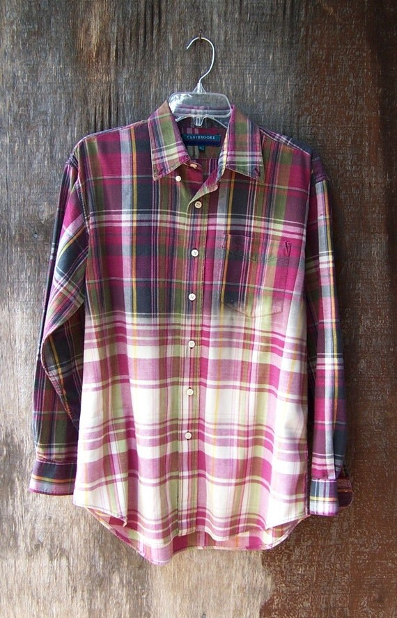 HALF BLEACHED PLAID shirt hipster grunge flannel long sleeve