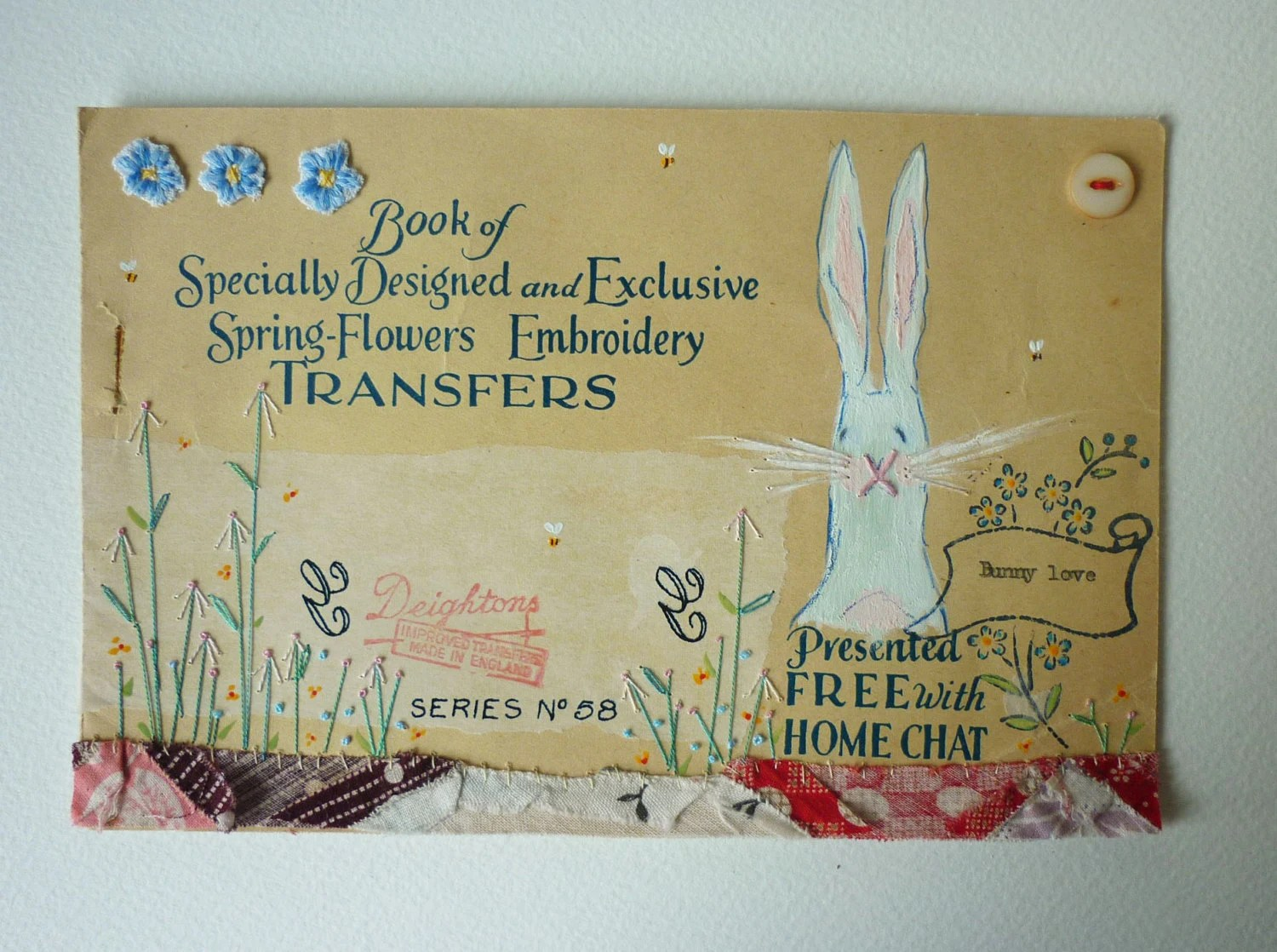 Original mail art - mixed media artwork on vintage paper : bunny love
