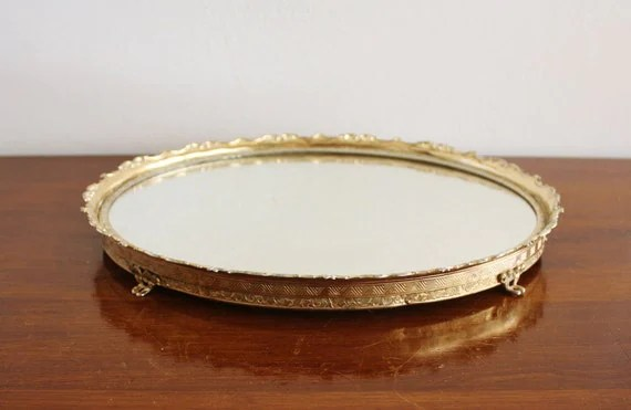 Vintage Mirror Vanity Tray With Brass Frame