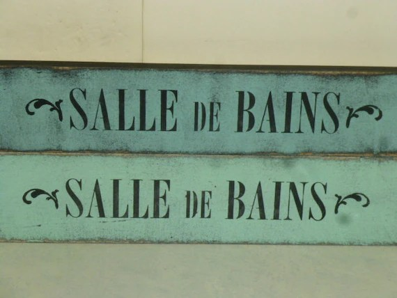 Salle De Bains French Bathroom Sign  French La Toilette Sign
