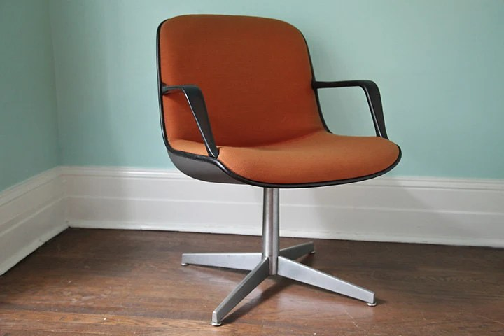 vintage steelcase chair chaise lounge covers office mid century modern orange retro eames