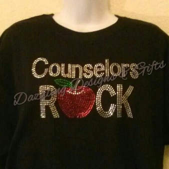 Custom Rhinestone Counselors Rock tshirt