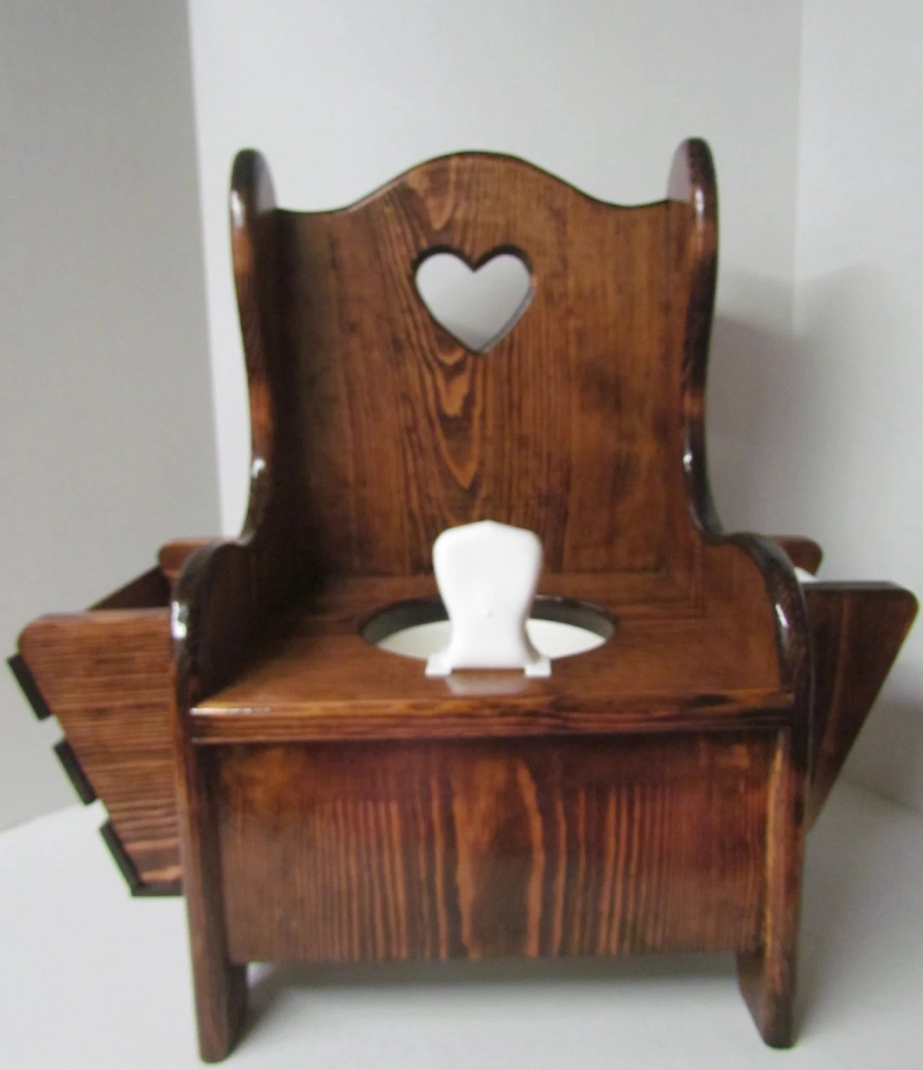 wooden potty training chair red adirondack chairs plastic with heart cut