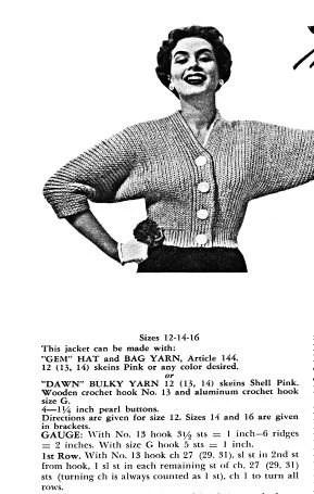 Crochet Sweater Pattern with dolman sleeves Vintage 1950s PDF