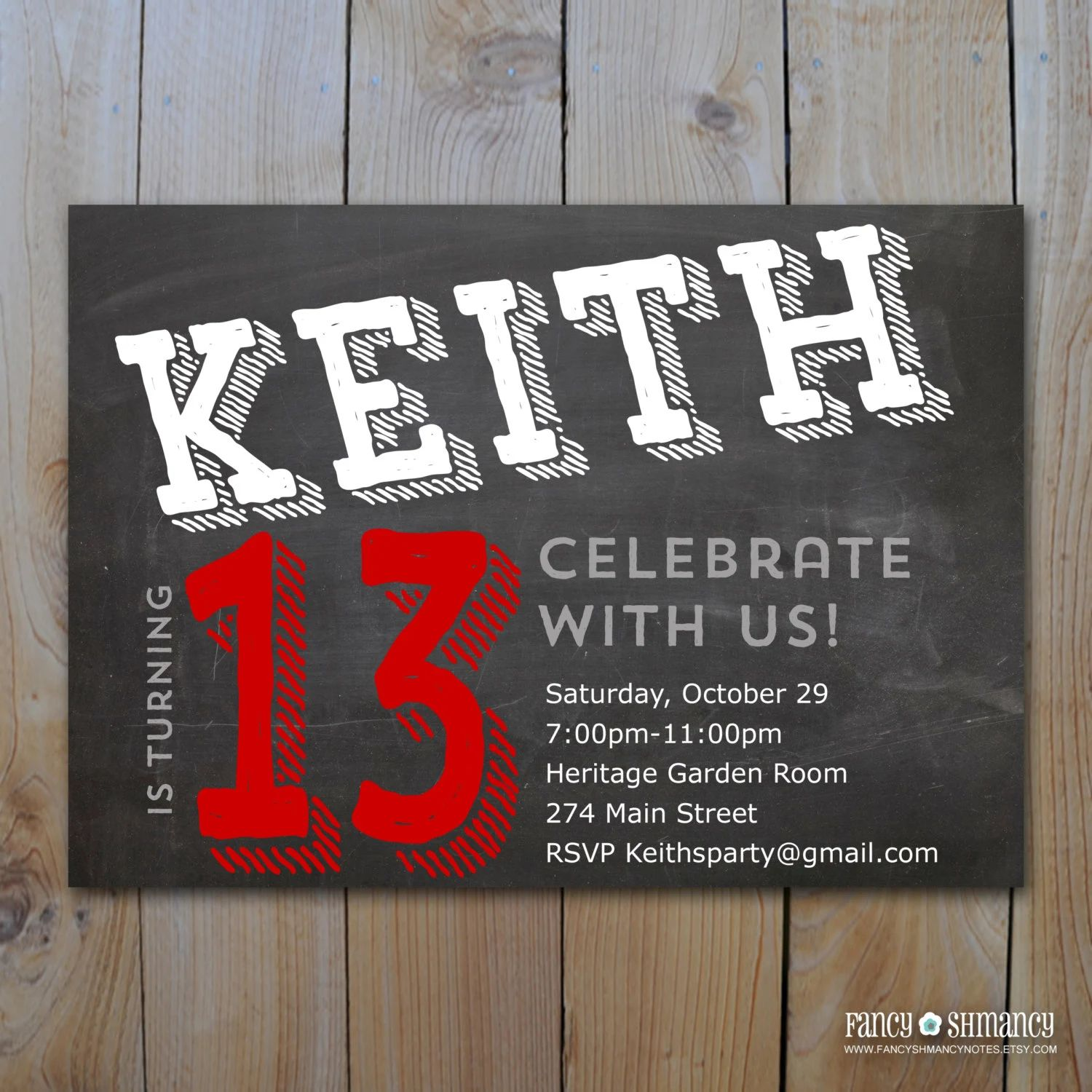 13th birthday party invitations for boys
