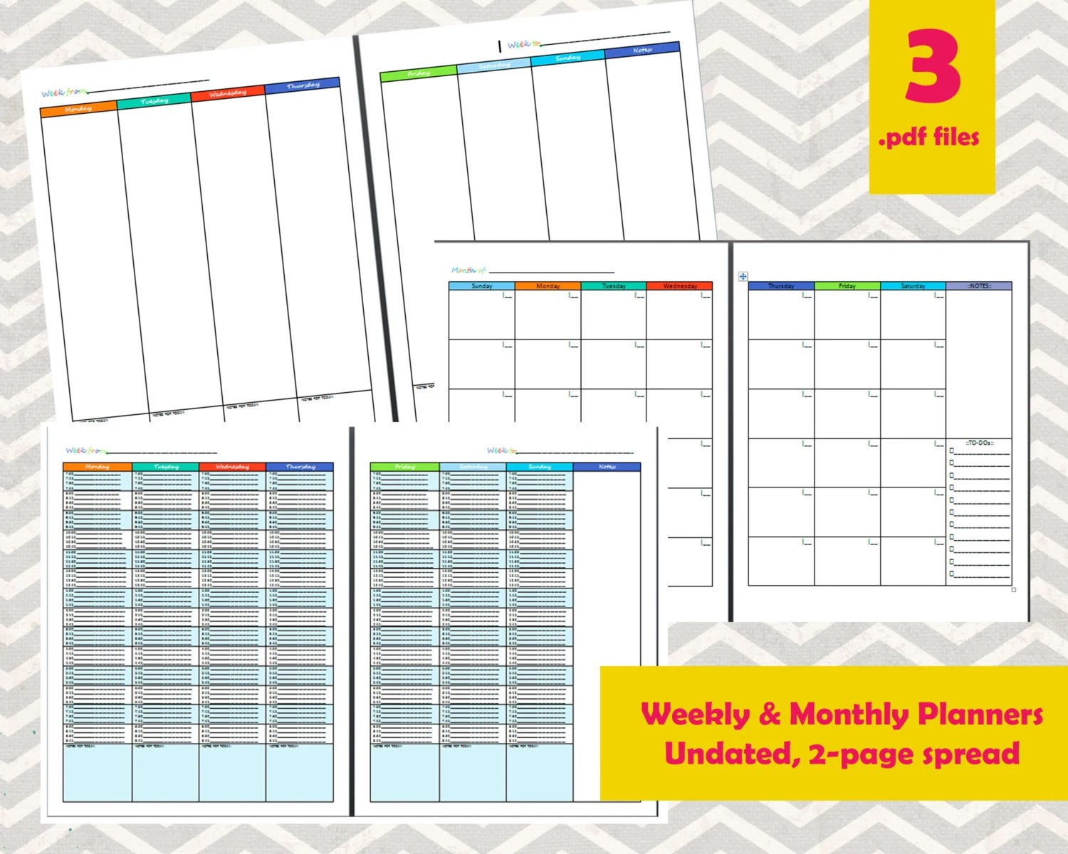 Undated Monthly and Weekly Calendar