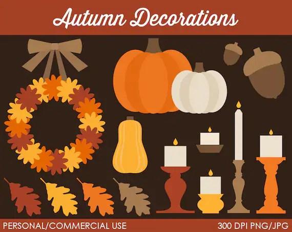 autumn decorations clipart digital