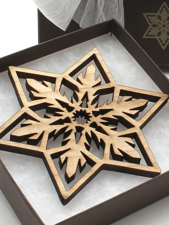 Wood Christmas Ornament Laser Cut Snowflake Design Made From