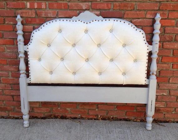 Vintage Upholstered Headboard Tufted Gray Wood Frame Pearl