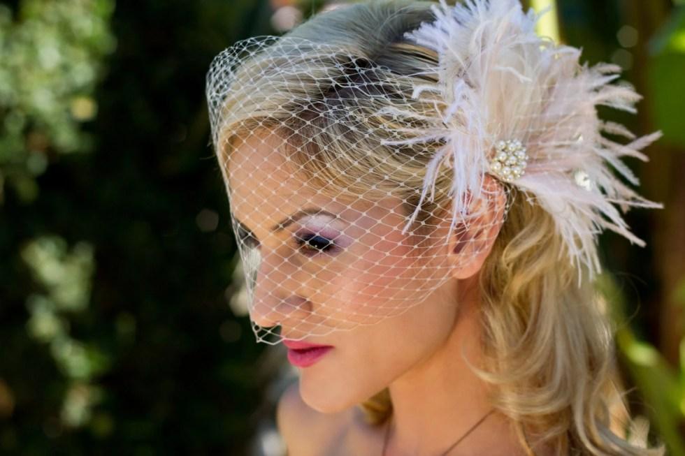 Fascinator, Bridal Feather Fascinator, Bridal Headpiece, Wedding Veil, Wedding Fascinator, Feather Fascinator, Ivory and Blush