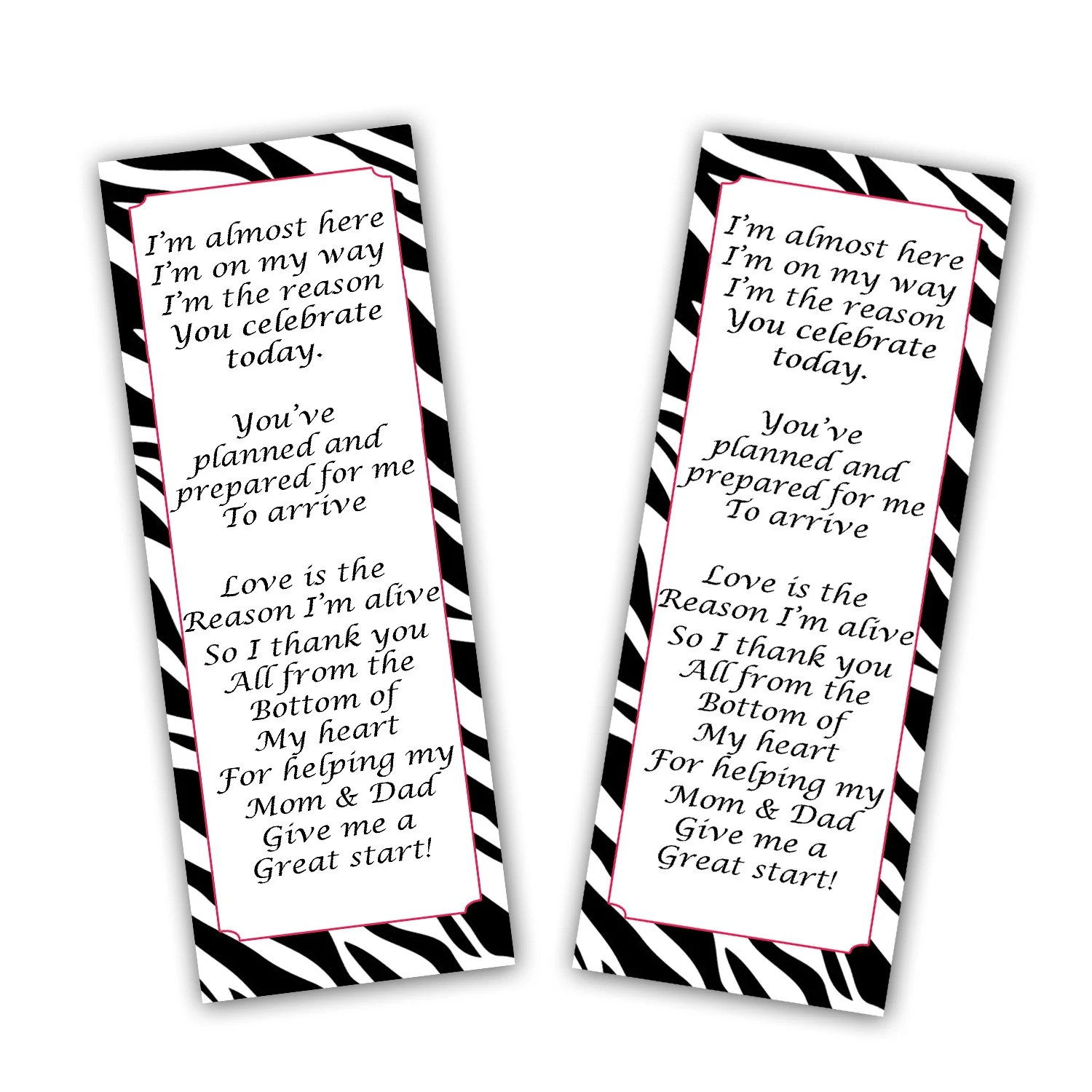 INSTANT DOWNLOAD Zebra Pink Baby Shower Bookmark Party Favors