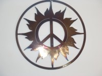 Peace Sign And Sun Metal art Round Wall Decor by Tibi291 ...