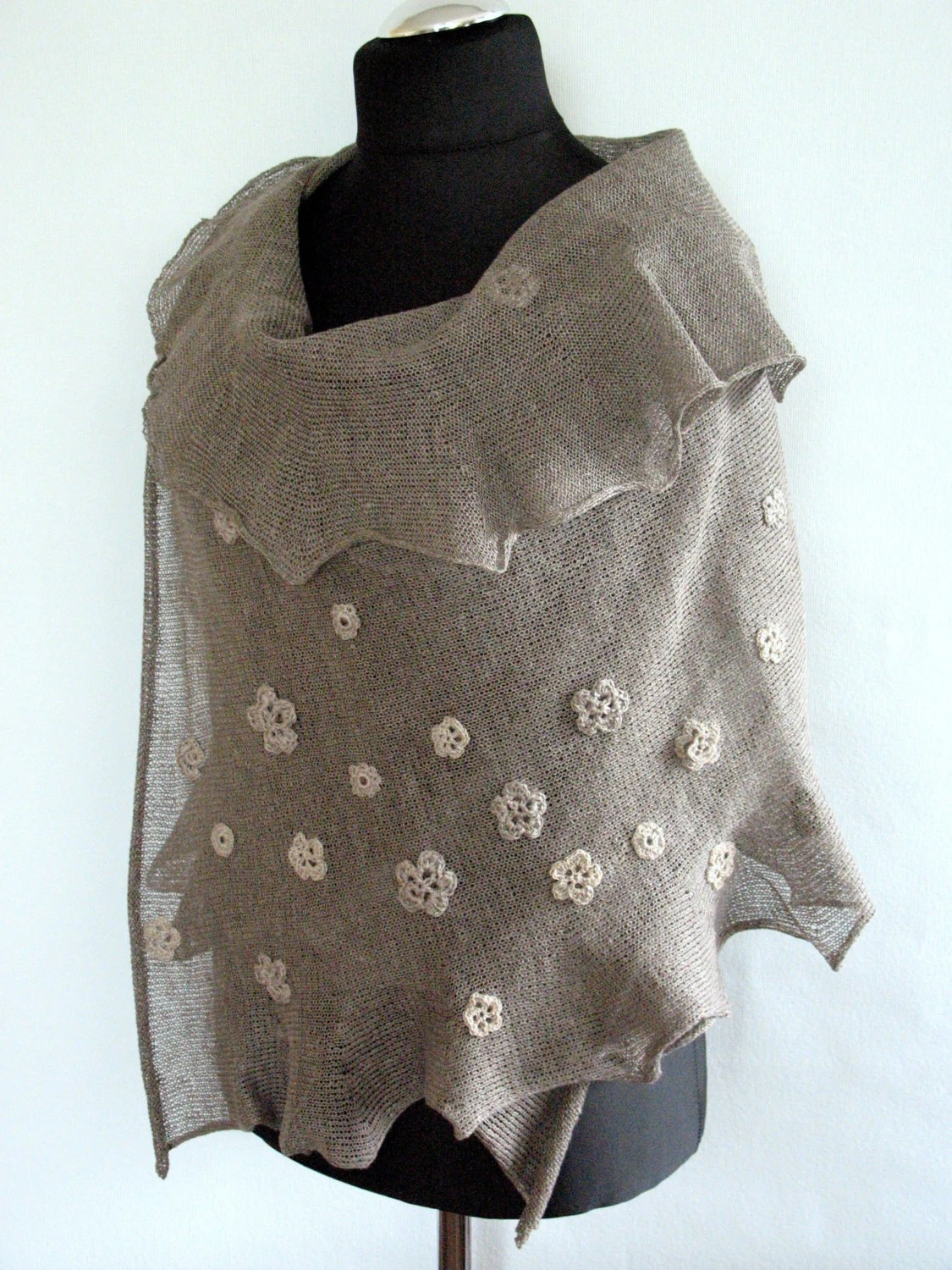 SALE Linen Scarf Natural Gray Shawl Wrap Stole with Crocheted Flower - Initasworks