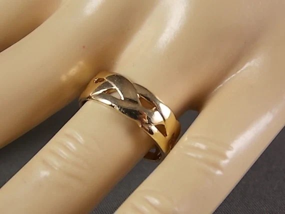 Vintage ArtCarved Braided 64mm Wide Gold Ring 47 Grams Size