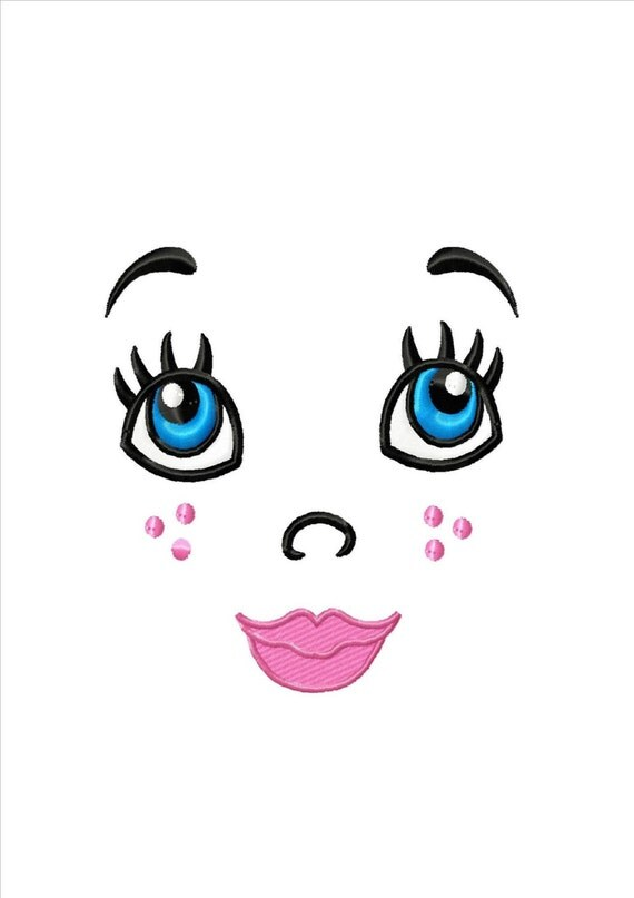 Items similar to DOLL FACE Machine Embroidery Design on Etsy