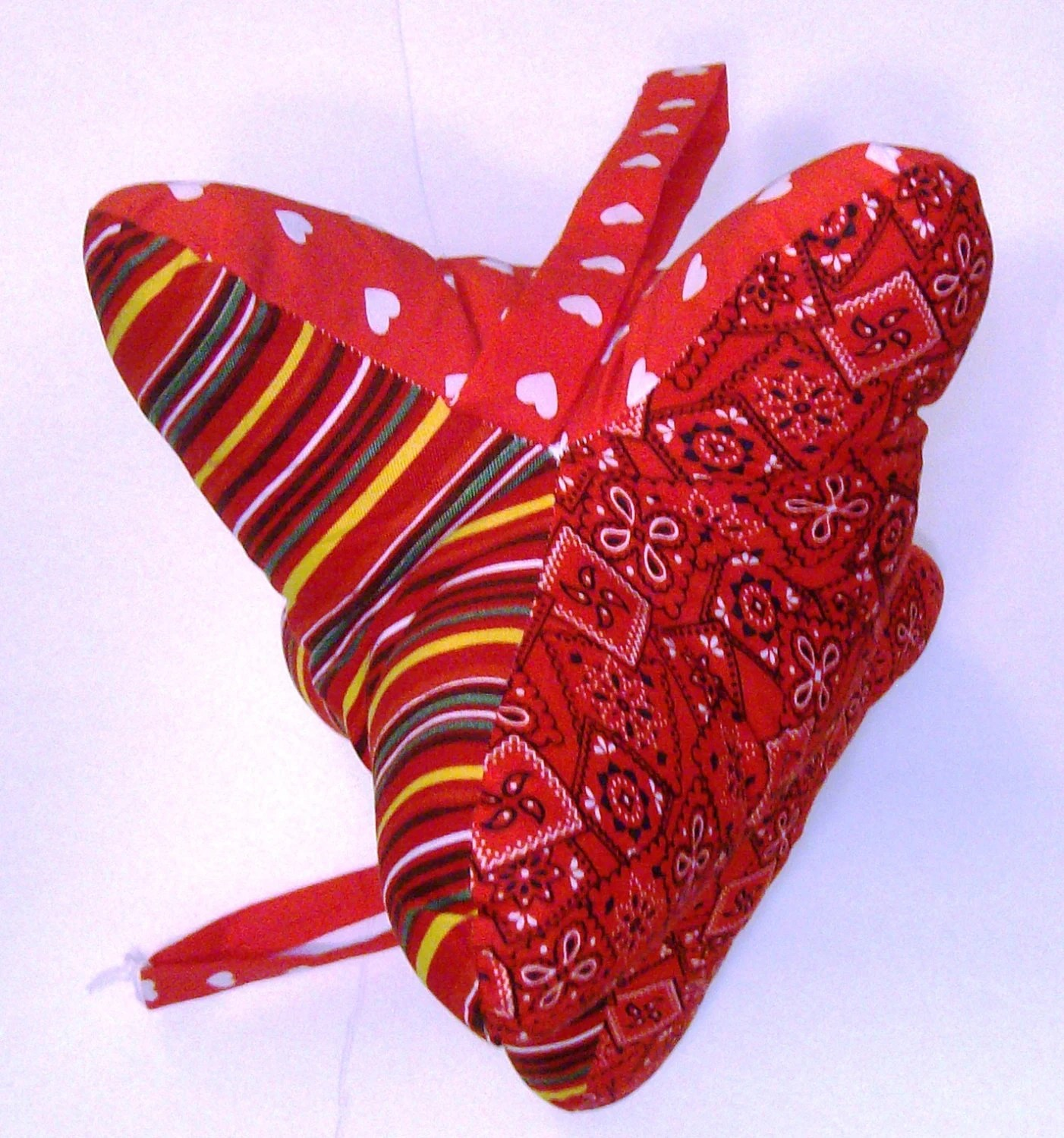 Dog Bone Shaped Neck Pillow in Red Cotton prints w Hearts