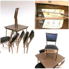 Folding Card Table And Chairs Crate Barrel Leather Chair With Ottoman Stakmore Four Set