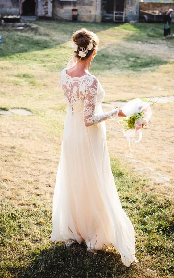 ... to Long sleeve lace wedding dress with stunning silk slip on Etsy