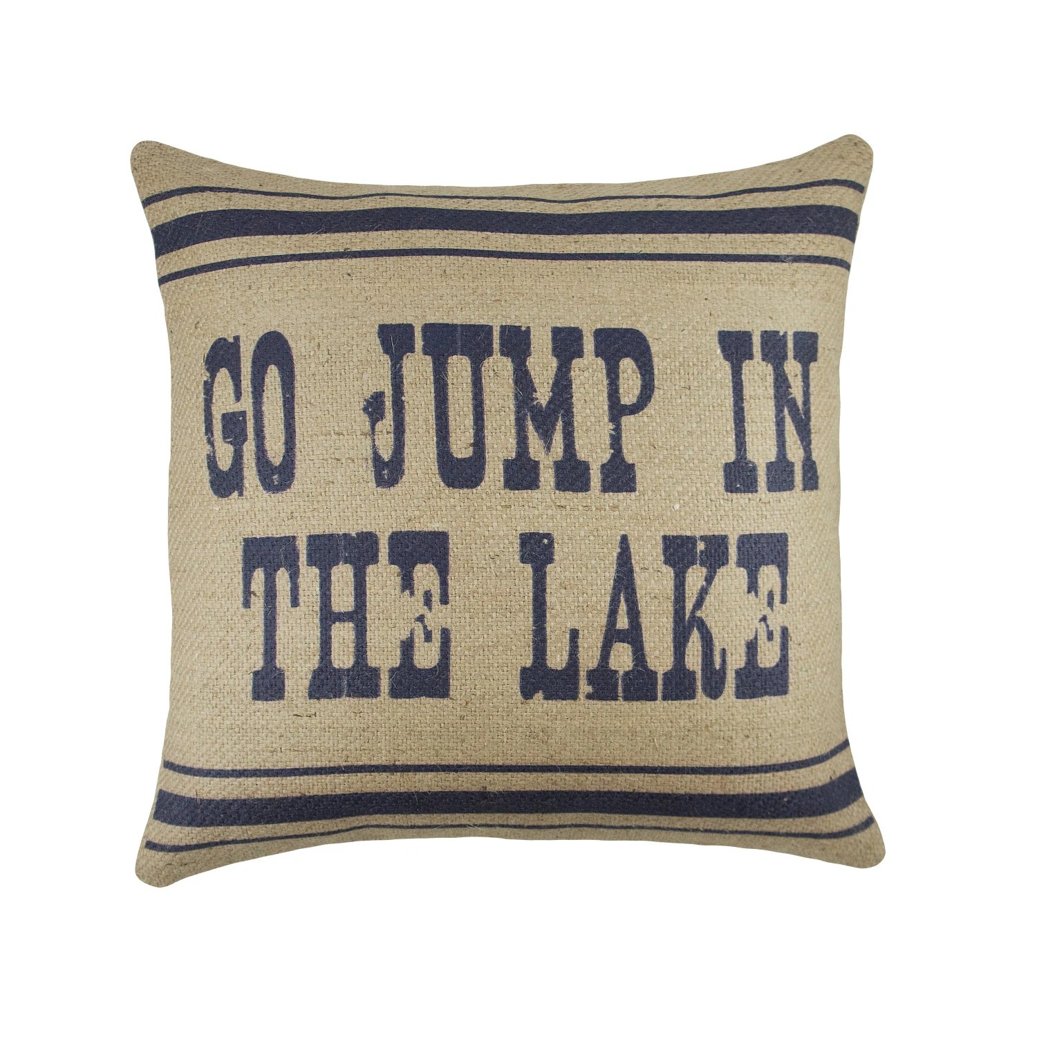 Burlap Chair Cushions Go Jump In The Lake Pillow In Navy Burlap Cushion Adirondack