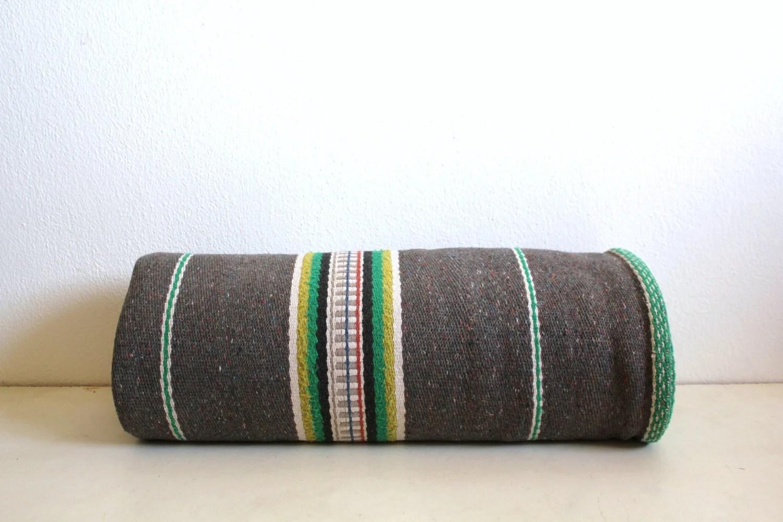 Vintage Bedspread Wool Grey Striped - CakeNumber9