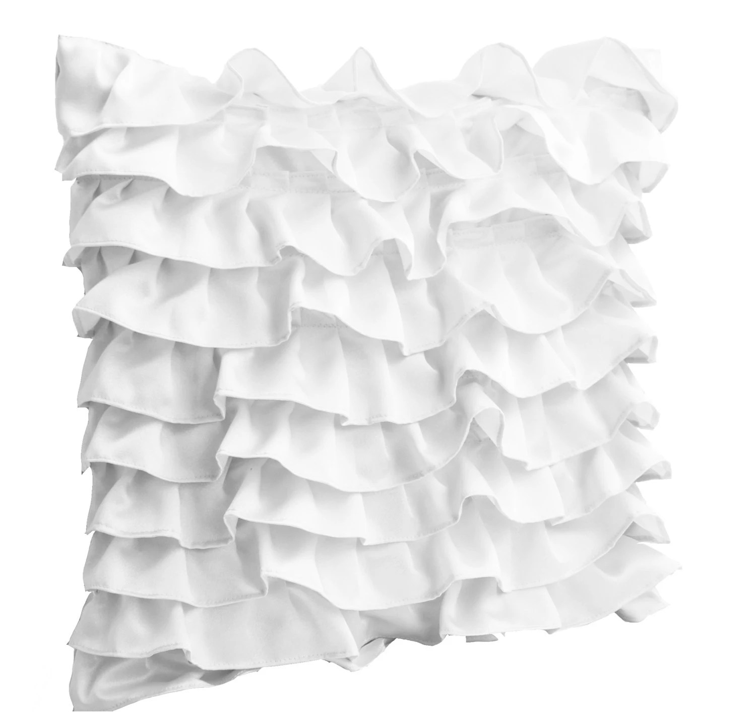 Decorative pillow in White Satin Ruffles Bed pillow cover