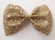 gold glitter hair bow