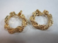 Vintage Monet Clip Earrings Braided Rope Hoop Earrings Clip On