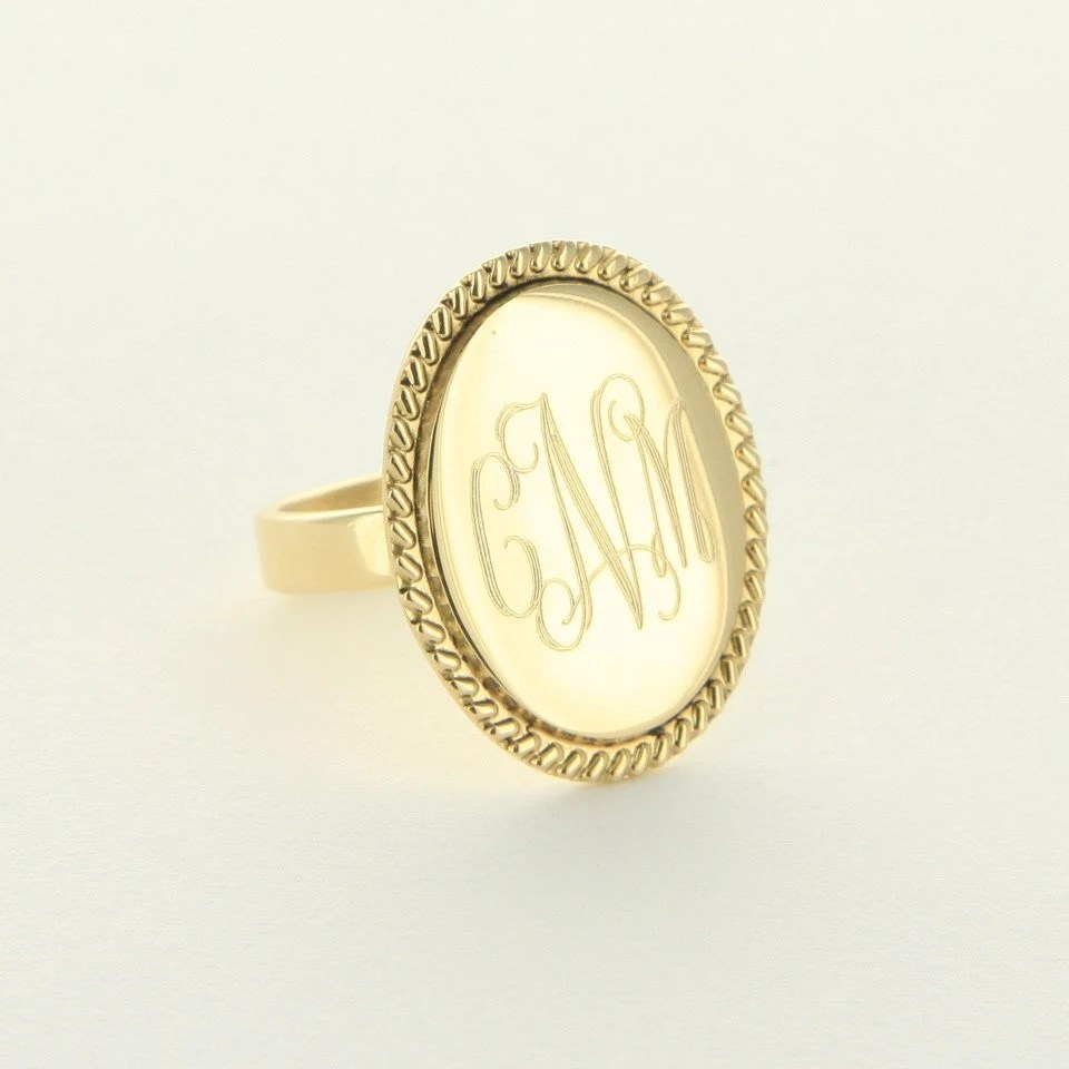Gold Monogram Ring Gold Oval Braided Ring: 14 Other Styles