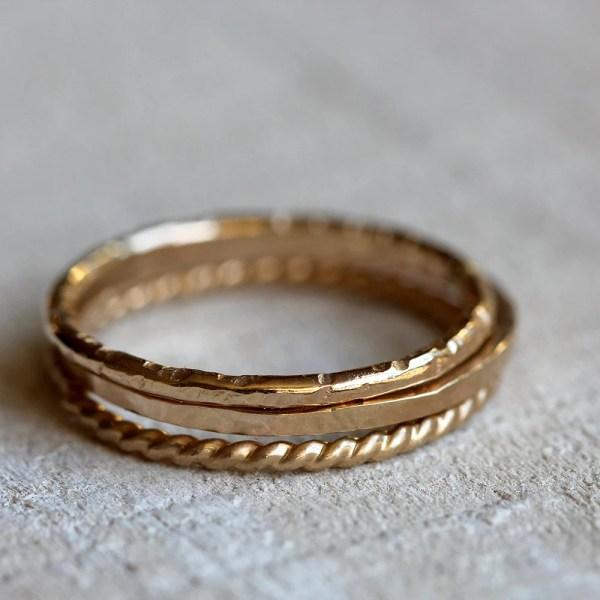 Gold Stacking Rings 14k